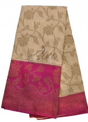 Gold Tissue Banarasi Dupion Silk Saree with Magenta Contrast Border