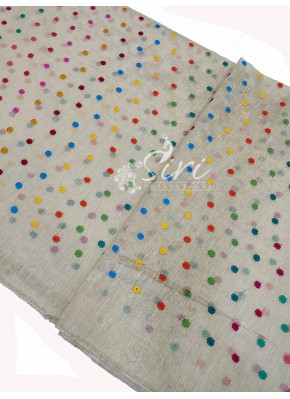 Gold Tissue Raw Silk Fabric in Multicolour Embroidery Work Per Meter