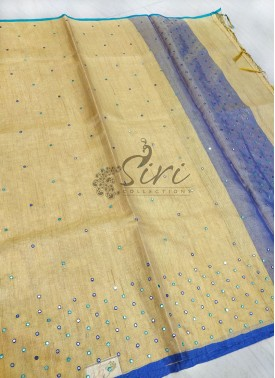 Gold Tissue Saree in Mirror Work