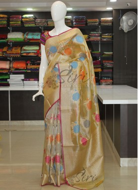 Gold Tissue Saree in Multi Colour Butis