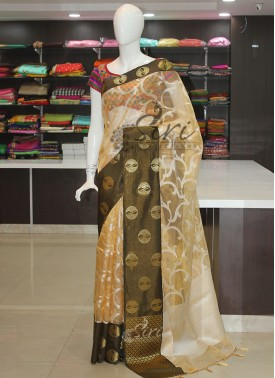 Gold Tissue Saree in Self Design With Contrast Border