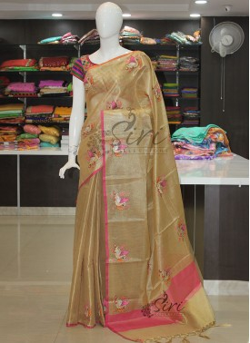 Gold Tissue Saree in Swan Design Embroidery Work Butis