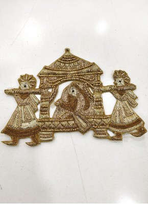 Gold Zardosi Sequins and Bead Work Buti Motif Patch
