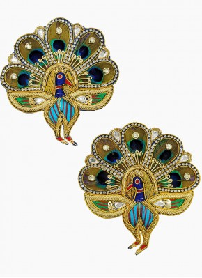 Gold Zardosi Work Pair of Buti Motif Patch in Peacock Design