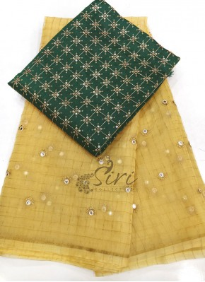 Golden Beige Organza Saree with Designer Blouse Fabric