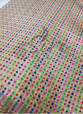 Golden Shimmer Fabric in Multi Meena Buti By Meter