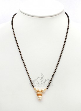 Gorgeous Black Beads Mangalsutra with AD Stone Jhumki Pendant