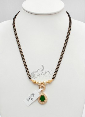 Gorgeous Black Beads Mangalsutra with AD Stone Pendant