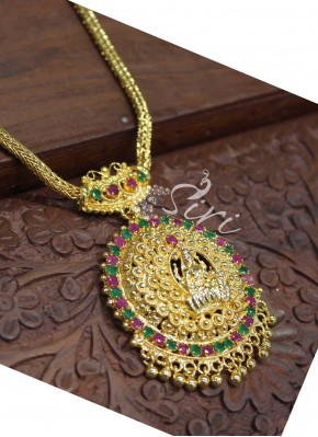 Gorgeous Gold Plated Temple Jewellery with Multi Colour Stones