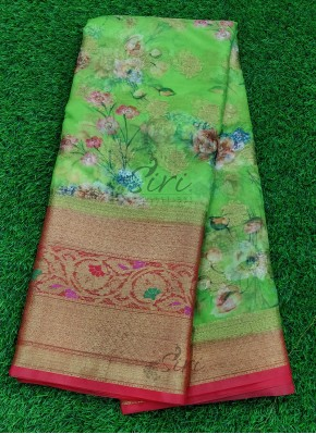 Gorgeous Green and Red Organza Saree in allover Flower Design with Kanchi Border