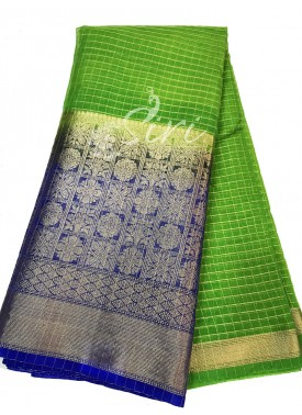Gorgeous Green Organza Checks Fabric with Blue Contrast Kanchi Border per meter