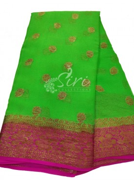 Gorgeous Green Pink Pure Banarasi Georgette Saree in Antique Zari