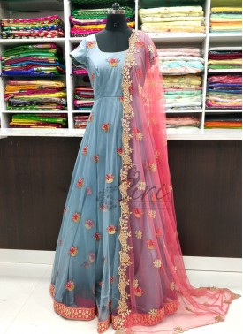 Gorgeous Grey Long Frock with Cut Work Dupatta