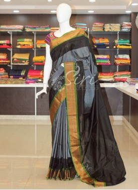 Gorgeous Grey Pure Uppada Silk Saree with Black Pallu
