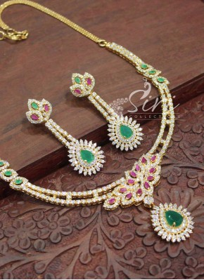 Gorgeous Multi AD Stone Necklace Set with Earrings