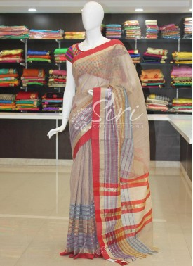 Gorgeous Multi Jute Fancy Kota Saree with Red Border