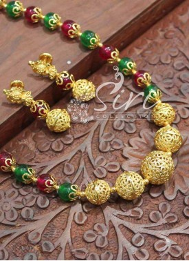 Gorgeous Multi Onyx Maala with Gold Plated Balls
