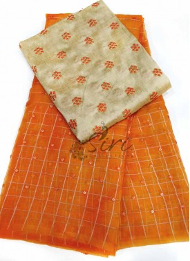 Gorgeous Orange Shibori Organza Saree with Sequins Work Buti