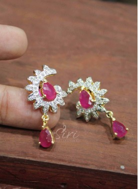 Gorgeous Ruby CZ Stone Earrings