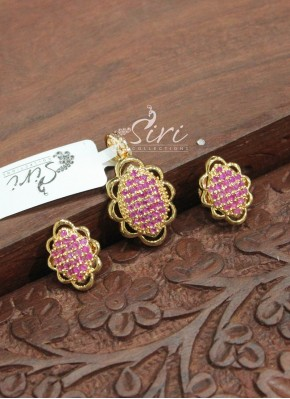 Gorgeous Ruby Stones Pendant Set with Earrings