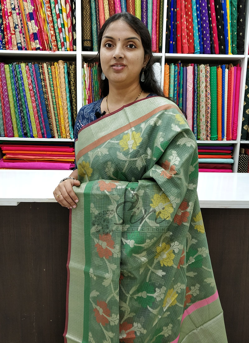 Graceful Olive Green Fancy Saree