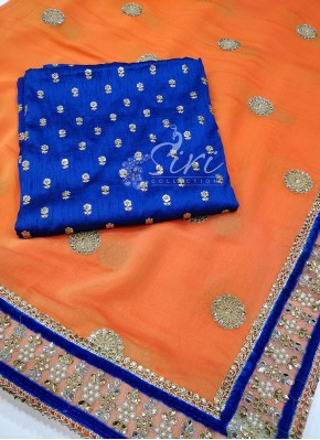 Grand Double Shade Orange Georgette Saree