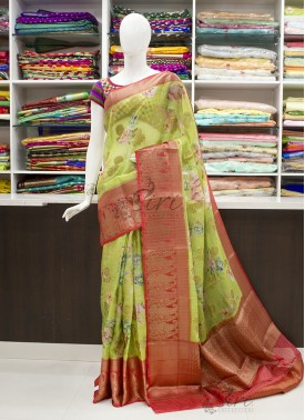 Green and Red Organza Saree in allover Flower Desi