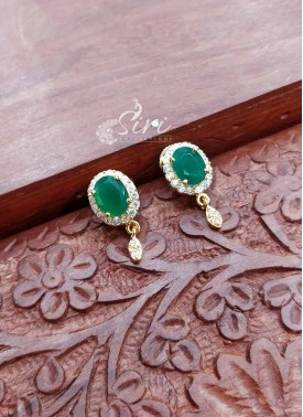 Green and White CZ Stone Earrings