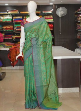Green Banarasi Cotton Silk Saree In Antique Zari