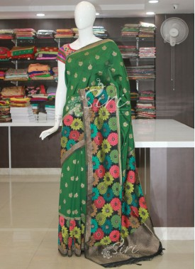 Green Banarasi Dupion Silk Saree in Multi Colour Weave Border