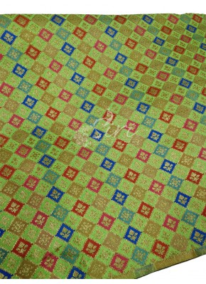 Green Banarasi Silk Fabric in multi colour weave