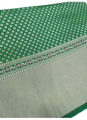 Green Banarasi Silk Fabric in one side Border Design Per Meter