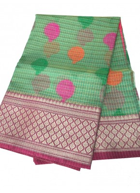 Green Banrasi Kora Saree in all over Multi Colour Buti Design