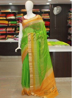 Green Beige Yellow Banarasi Kora Saree in Self Zari Checks