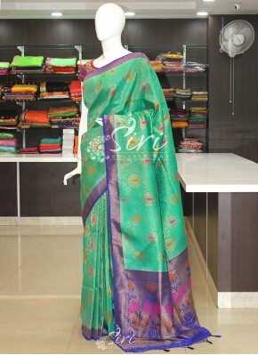 Green Blue Banarasi Soft Silk Saree in Multi Colour Butis