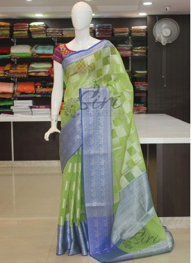 Green Blue Organza Saree in Silver Zari