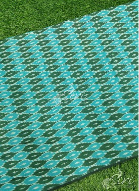 Green Blue Pochampally Ikat Mercerized Cotton Fabric By Meter