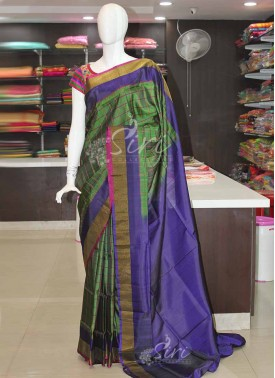 Green Blue Purple Checks Uppada Silk Saree