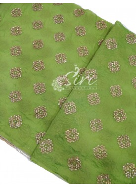 Green Chanderi Fabric in Gold Embroidery Work Per Meter