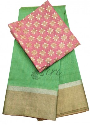 Green Chanderi Jute Saree with Banarasi Silk Blouse Fabric