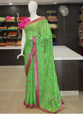 Green Chiffon Saree in Magenta Pink Embroidery Work Butis