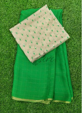 Green Chiffon Saree in Zari Checks With Designer Blouse Fabric
