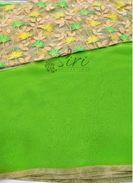 Green Chiffon Saree with Designer Blouse Fabric