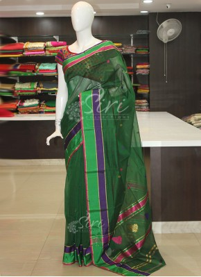 Green Cotton Silk Saree