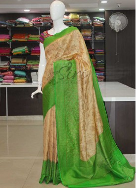 Green Cream Fancy Banarasi Tissue Dupion Silk Saree