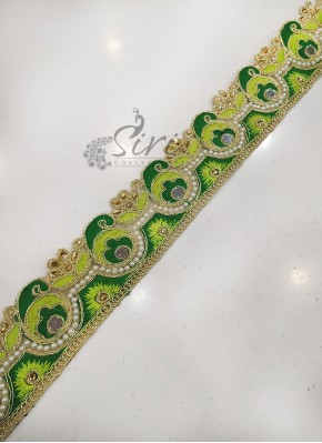 Green Cut Work Lace Border in Stone Pearl Work