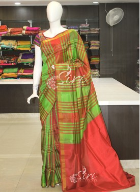 Green Deep Red Checks Pattu Silk Saree