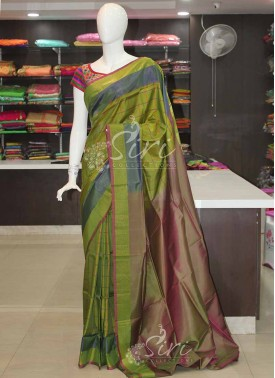 Green Double Shade Blue Pink Checks Uppada Silk Saree