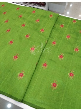 Green Double shaded Raw Silk Fabric in Thread & Zari Embroidery Work Butis per meter