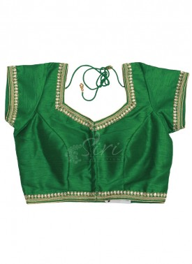 Green Dupion Silk Stitched Blouse in Cups With Stone Pearl Embroidery Work